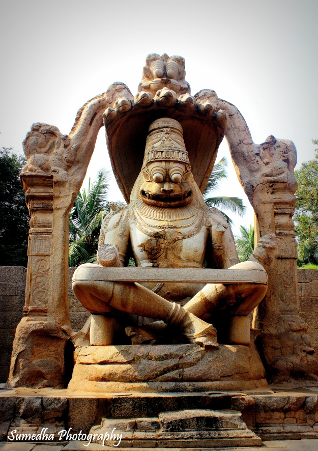 Ugra Narasimha is the biggest idol in Hampi with a height of 22 ft.